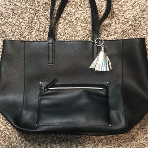 Faux Leather Black Tote with Tassel